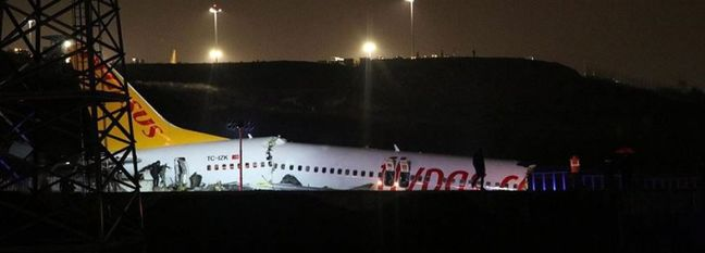 Landing Turkish Airliner Shatters Into 3 Pieces