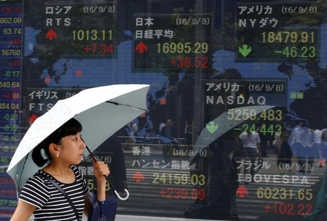 Asia stocks up as Trump's dollar comment boosts exporters; sterling shines